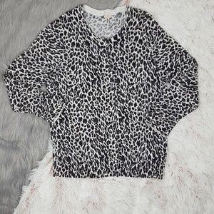 J. CREW Snow Leopard Print Button Down Cardigan